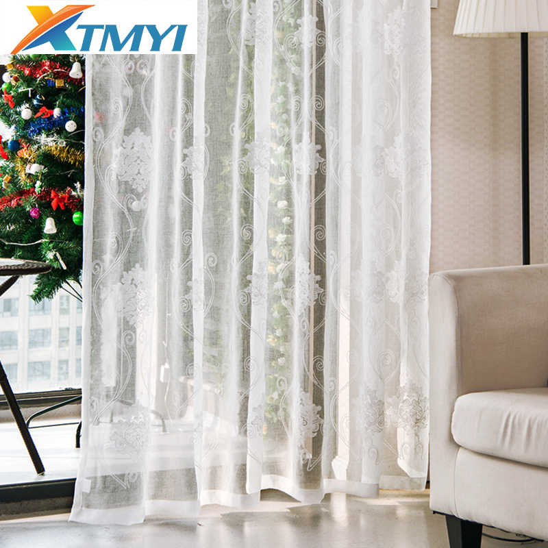Tulle curtains luxury embroidered white window Luxury Europe Cotton Linen Voile the Bedroom