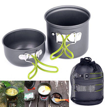 Cooking Tool Set Pot foldable handle non-stick Pan Picnic Cookware Outdoor Aluminum Bowls Camping Hiking Backpacking