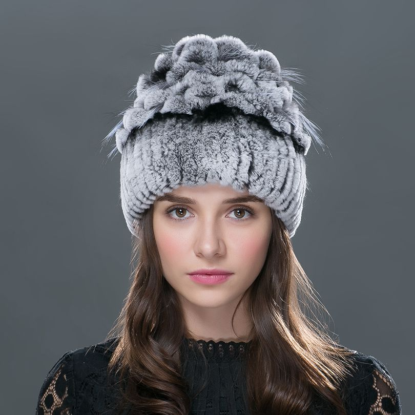 LTGFURSale 2016 winter beanies fur hat for women knitted rex rabbit fur hat with fox fur flower top free size casual women's hat