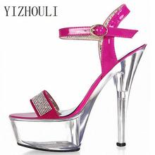 Manufacturers of 15 cm high heels nightclub crystal sandals ultrafine with small size of the shoes(China)