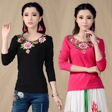 Traditional Chinese Clothing 2017 Mexican Style Ethnic Long Sleeve Floral Embroidery Rose Red Black t-shirt Vintage Design Shirt