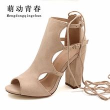 2017 Women Sandals Gladiator Genuine Leather High Heels Summer Fashion Pop Toe Shoes Woman Pulse Size 42(China)