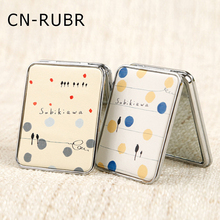 CN-RUBR PU Cartoon Pocket Mirror Metal Compact Portable Makeup Mirror Mini Double-sided Cosmetic Hand Mirror Beauty Make Up Tool