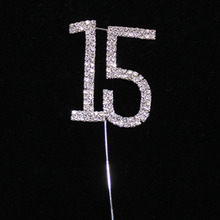 Diamante Crystal Cake Topper Number 15th Birthday Wedding Anniversary Cake Decoration Centerpieces