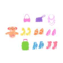 New Fashion 15Pcs Doll Accessories Luggage Shoes Bags Necklace Bear For Barbie Toys Gifts(China)