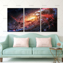Canvas Paintings Wall Art Picture Space and Universe Print Space Landscape Decor Universe Galaxy Stars 3 Piece Picture no frame(China)