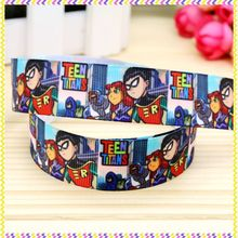 7/8'' Free shipping teen titans go printed grosgrain ribbon hair bow headwear party decoration wholesale OEM 22mm H4220