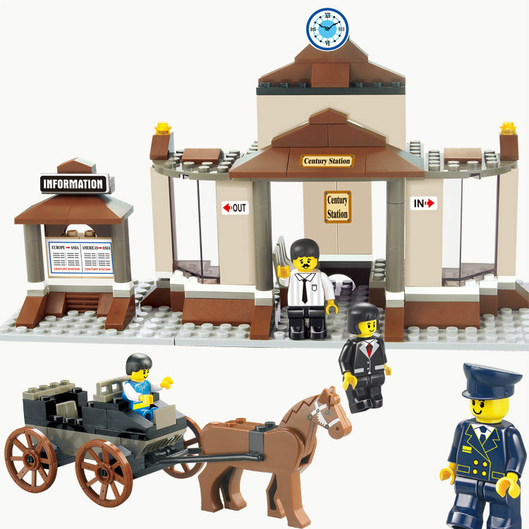 Sluban 0230 Railway Station Waiting Hall With Horse Carriage DIY Enlighten Building Block Sets Model Toys Compatible <br><br>Aliexpress