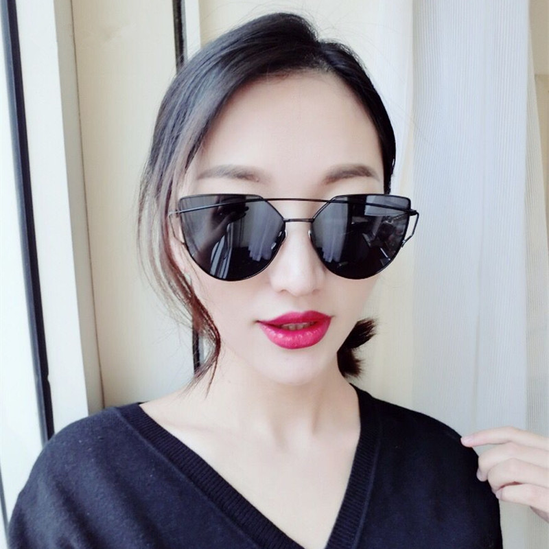 2017 Mix Wind new Cat Eye Aviator Sunglasses Women Vintage Fashion Metal Frame Mirror SunGlasses Unique Flat Ladies Sunglasses<br><br>Aliexpress