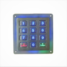 12 keys 4x3 metal backlight stainless steel illuminated numeric keypad,Waterproof Digital LED Vending Machine backlit Keyboard