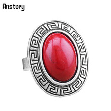 Vintage Look Tibet Alloy Antique Silver Plated Longevity Malachite Stone Adjustable Rings TR201