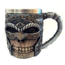 1pc Personalized 3D Skull Mugs Coffee Mugs Double Wall Coffee Mug Skull Knight Tankard Dragon Drinking Cup Halloween Decor A35