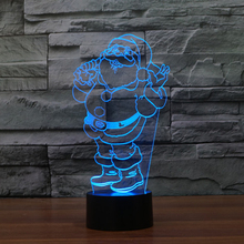 Lovely Santa Claus 3D Illusion LED Night Light Dimming Table Lamp For Christmas Children Kids Bedroom Lamp Holiday Lighting(China)