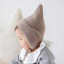New Steeple Witches Knitted Hat for Girls Boys Lace-Up Solid Color Baby Bonnet Fotografia Props
