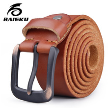 Buy BAIEKU Full grain leather belt Outdoor fashion retro men's genuine leather belt Pin buckle belt for $28.00 in AliExpress store