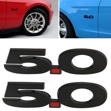 MAYITR 1pc 3D 5.0 Logo Emblem Sticker Car Side Fender Badge for Ford Mustang Black Car Styling Decorative(China)