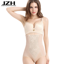 JZH 1PCS/lot M-5XL Women Panties Seamless Lace Intimates Plus Size Body Sculpting Underwear 100% Cotton High Waist Panty Female(China)