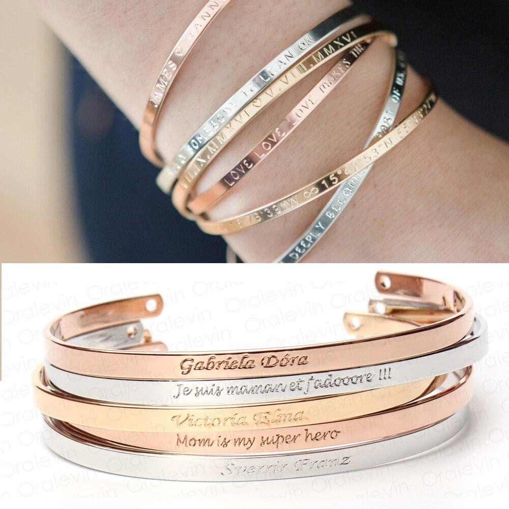 Women Bangle Gifts Inspirational Bracelets Engraved Personalized Cuff L