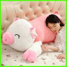 New Lovely 120cm Soft Cartoon Lying Pig Plush Pillow Doll 47'' Big Stuffed Animal Pig Kids Toy Baby Gift