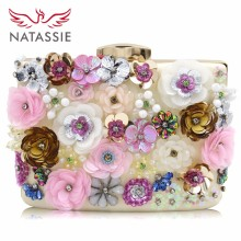 Natassie 2017 New Arrive Women Wedding Clutches Female Day Bags Flower Party Bags Ladies Meeting Day Clutch Purses Good Quality(China)
