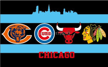 90x150cm Chicago City All Team Flag Blackhawks Cubs Bears Bulls Flag 3X5FT Chicago All Day Flag brass metal holes(China)