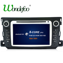 For Mercedes Benz Smart Fortwo 2012-2014 Android 6.0 8 CORE octa core RK3688 Car 2 din DVD player GPS Radio stereo multi media