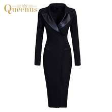 Queenus Women Bodycon Dress 2017 Spring Autumn OL Day Dresses PU Patchwork Norched Knee Length Office Lady Women Pencil Dresses