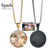 SPARK Customized Necklace Front Engraved Photo Back Engraved Name Round Dog Tag Pendant Necklace for Men & Women Gift Bijoux