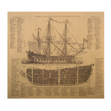 1 pcs Ancient Warships Design Drawings Movie Kraft Paper Poster History Wall Sticker Painting Antique Home Decor(China)