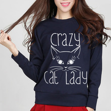 CRAZY CAT LADY Print Harajuku Women Sweatshirt brand Casual Hoody Lady Funny Jumper Hipster Street Black hoodies tracksuit mma