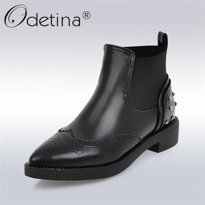Odetina 2017 Fashion Rivet Chelsea Boots Women Pointed Toe Slip on Ankle Boots Square Low Heel Brogue Boots Autumn Winter Shoes<br>