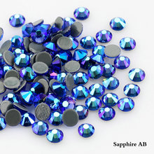 QIAO Sapphire AB Plating Color Crystal Glass Hot Fix Rhinestone/Iron On Rhinestone For Clothes Decoration(China)