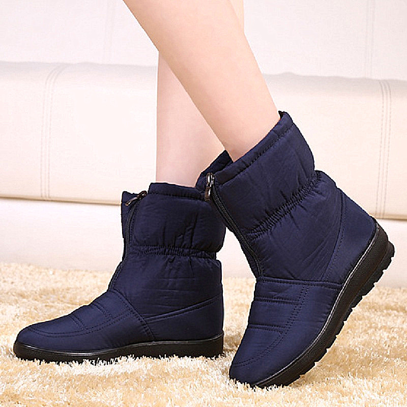 Fashion Winter Women Boots Female Waterproof Zip Ankle Boots Down Warm Snow Boots Ladies Shoes Woman Botas Mujer Plus Size 35-42<br><br>Aliexpress