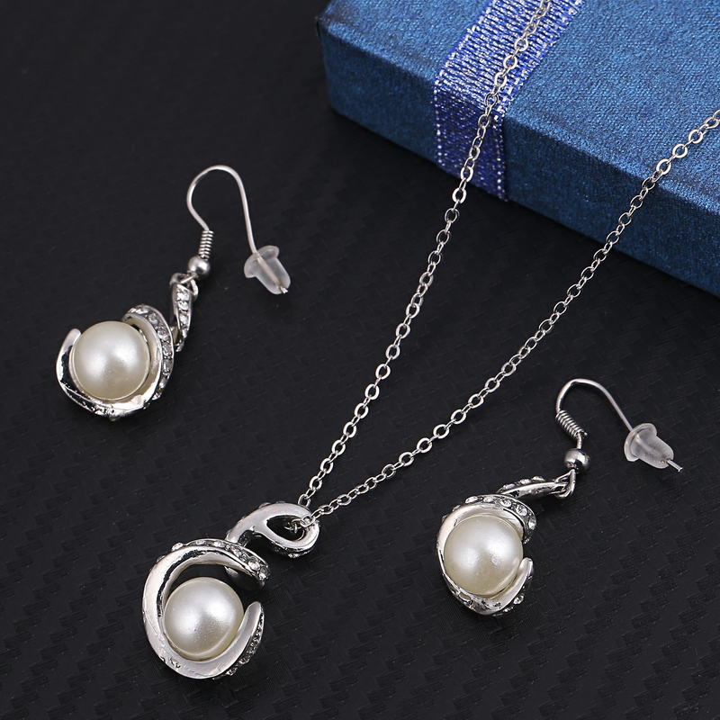 Wedding women crystal jewelry sets fashion simulated pearl gold wedding women crystal jewelry sets fashion simulated pearl gold silver plated pendant necklace earring set party accessories dream emarket aloadofball Choice Image
