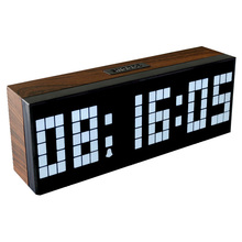 Led Wooden Clock Digital Wood Wall Watch Big Screen Dual Alarm Watch Bedside Snooze Kitchen Timer Office Temperature Date Gift