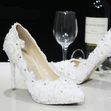Almond Shaped Toe White Lace Flower Wedding Dress Shoes Bridesmaid Shoes Bridal Shoes Banquet Evening Party Prom Princess Shoes