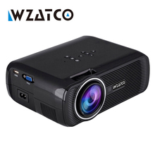 WZATCO drop shipping Mini LED Projector 1800Lumens TV Home Theater Support Full HD 1080p Video Media player Hdmi LCD 3D Beamer