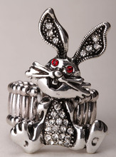 Bunny rabbit stretch ring easter jewelry gifts decoration for women girls antique silver color W/ crystal wholesale dropship 3