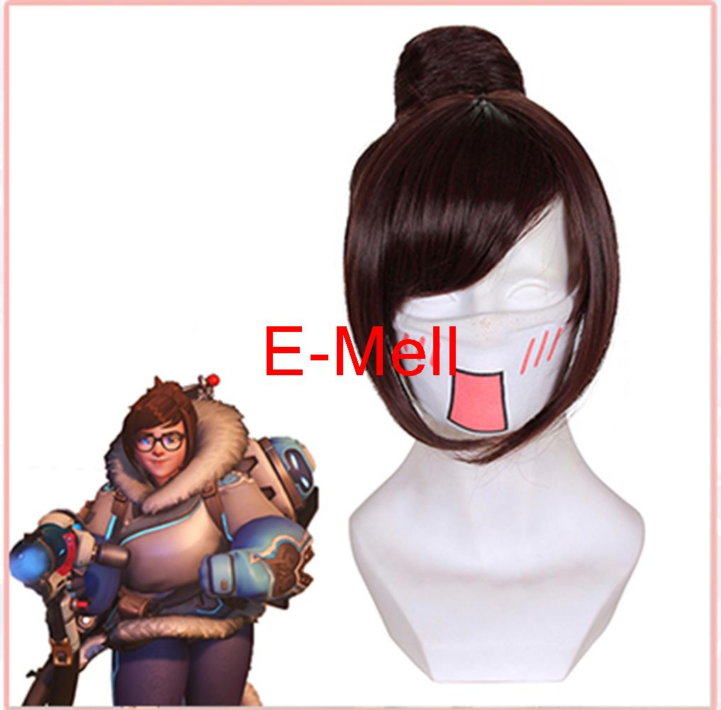 12.6inch/ 32cm Cospaly Owatch Mei Wig Short straight hair High Temperature red brown Hair High Quality 419A<br><br>Aliexpress