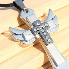 European Fashion Stainless Steel Angel Wings Cross Pendant Rope Necklace With Rhinestone