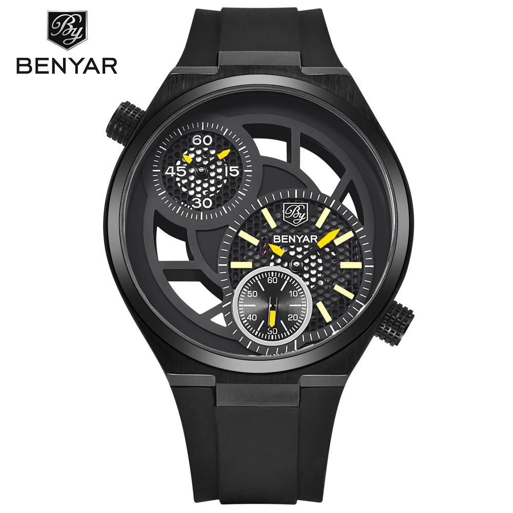 Benyar Chronograph Function Men Sport Watch Silicone Luxury Watch Men Top Brand Military Watch Reloj Hombre<br>