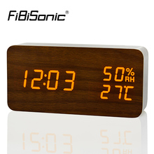 FiBiSonic Modern LED Alarm Clock,Despertador Temperature Humidity Electronic Desktop Digital Table Clocks(China)