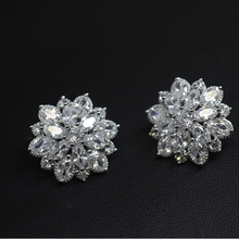New 925 Sterling Silver Needle Fashion Zircon Stud Earrings for Women Female Flower Clover Earring Jewelry(China)