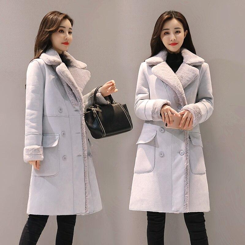 faux Lambs wool coat womens winter deer velvet Long sleeve Turn-down Collar Wool Jackets female outerwears jacketsÎäåæäà è àêñåññóàðû<br><br>
