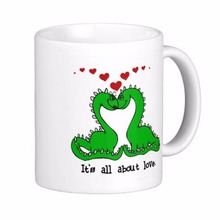 Dinosaur Valentine Love White Coffee Mugs Tea Mug Customize Gift By LVSURE Ceramic Mug Travel Coffee Mugs