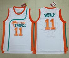 #11 ED Monix Jersey Flint Tropics Semi Pro Movie Embroidered White Mens Basketball Jersey