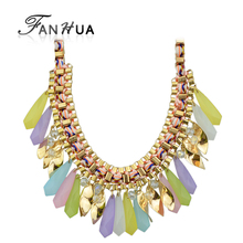 New Arrival Braided Rope Green Blue Pink Black Colorful Necklaces Big Drop Necklace for Women Lady Fashion Trading Company