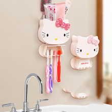 Cartoon Toothbrush Holder Hello Kitty Storage Box Bathroom Accessories Paste Container For Bathroom 7D(China)