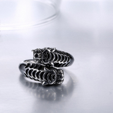 Punk Biker Heavy Double tiger sale 316L stainless steel ring vintage men jewelry wholesale Fast shipping STR-Y601256(China)