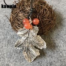 Free Shipping Vintage Oriental Fashion Beads Charm Leaf Pendant Necklace(China)